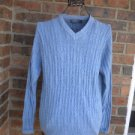 NEW TALBOTS Men Blue Cable V Neck Sweater Size S Pullover 100% Cotton
