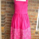Sangria Pink Lined Summer Embroider Sun Dress 8 NEW
