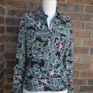 ETCETERA Women Paisley Ruched Side Top Size S Small Bell Bottom Sleeve