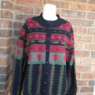 TALBOTS Women Wool Blend Cardigan Sweater Size S M Red/Green/Black Multi