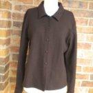 EILEEN FISHER Women Brown 100% Wool Blouse Shirt M Size Brown Top Long Sleeve