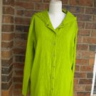 CHICO'S Women Crinkle Hooded Shirt Blouse Top 3 XL Size Green 100% Cotton Hoodie