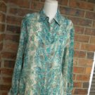 TALBOTS  Faux Snakeskin 100% Pure Silk Blouse 8 M Size Women Blue Multi Shirt