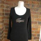 LACOSTE Women Black Top Silver Alligator Size 40 S Long Sleeve