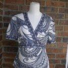 TWEEDS Women Gray/White 100% Linen Blouse Top Size M