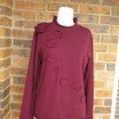 TALBOTS Women Rosette 100% Merino Wool Sweater Size L Pullover Burgundy