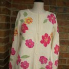 TALBOTS Floral Cardigan Sweater Women Size S M 100% Cotton