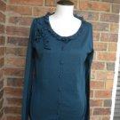 TALBOTS Women Blue Silk Blend Cardigan Sweater Size S