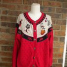 WOOLRICH Women Red Multi Cardigan Sweater Size L Cotton Blend