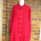 CHICO'S DESIGN Red 100% Linen Shirt Blouse Size 2 L Women Top