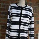 Talbots Petite Black/White Cardigan Sweater Size S Women 100% Cotton