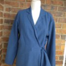 TALBOTS Petite Women Blue 100% Wool Wrap Top Size M