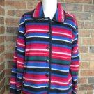 TALBOT Petite Women Southwest Fleece Cardigan Sz S M Sweater Indian Print Jacket