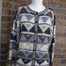 TALBOTS Petite Geometric Hand Knit Cardigan Size S Women Sweater