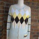 PECK & PECK Women Argyle Buttons Cardigan Sweater M Size 100% Cotton
