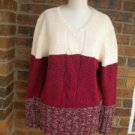 NEW DENIM & CO Women Red Multi Heavy Sweater Size L Pullover Cotton Blend QVC