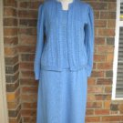 LAURA KNIT COLLECTION 3 Pc Sweater Shell Skirt Set 12 L Size Blue Outfit Women