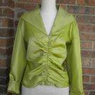 Talbots Green 100% Silk Ruched Blouse Top Women Sz 12 L