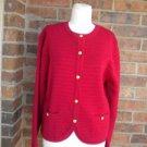 TALBOTS Women Red 100% Merino Wool Cardigan Size M Sweater