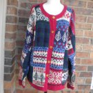 TALBOTS Women Cardigan Sweater Size L Red/Blue/Beige Multi