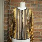 ANAC by KIMMY Women Stripe Sheer Hook Front Top Size M