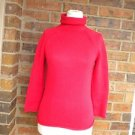 J CREW Women Red Combed Cotton Turtleneck Sweater Size XS S