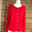 KIRKLAND Signature Women Red 100% 2 Ply Cashmere Cardigan Sweater S Size