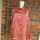 TALBOTS Women 100% Pure Silk Blouse Shirt Top Size 18 Red/Beige