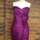 JOVANI Purple 100% Silk Strapless Cocktail Evening Party Dress Size 6