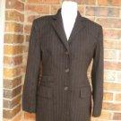 LAUREN RALPH LAUREN Women Blazer Jacket Size 6 Lined 100% Wool Brown Pinstripe