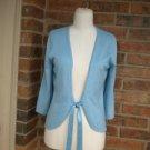 ANN TAYLOR Women Sweater Size M Silk Blend Tie Front Shrug Top Blue