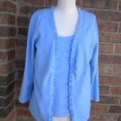 TALBOTS Women Sweater Twin Set Size L Blue Cardigan Tank Top