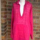 """CHICO""""S Pink 100% Linen Hoodie Hooded Blouse Shirt Top Size 0 S 4 / 6 Oversize"""