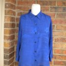 "CHICO""S 100% Silk Blouse Size 1 M 8/10 Blue 3/4 Sleeve Top Shirt Women"