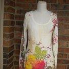CACHE Women Top Size S Floral Sequin Scoop Neck