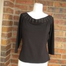 CACHE Women Top Size L Boat Neck 3/4 Sleeve Brown