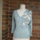CABO Women Silk Cashmere Sweater Size S Blue V Neck Top Flower Applique