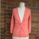 J CREW Maya Cardigan Sweater Size XS 100% Merino Wool Top Coral