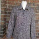 DANA BUCHMAN Italy Tweed Zip Pea Coat Jacket Wool Blend Size 8 Lined