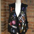 The QUACKER FACTORY Women Sequin Vest Size 3X Alphabet Number Tic Tac Toe