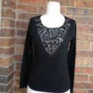 TALBOTS Petite Silk Cashmere Blend Lace Beaded Top Size P S Black Sweater