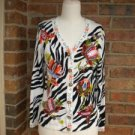JUST B Women Embroidered Beaded Cardigan Sweater Size S Rayon Blend