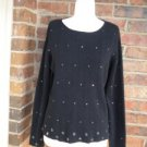CASUAL CORNER Women Sequin Sweater Size L Black Top Long Sleeve