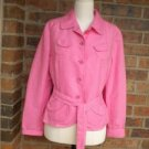 ETCETERA Women Pink Cotton Linen Belted Blazer Jacket Size 6 M