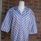 LAFAYETTE 148 New York Women 100% Silk Blouse Shirt Top Size 16 Blue/White