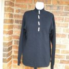 LAUREN RALPH LAUREN Women Navy Tunic Sweater Size S Buttons 100% Cotton