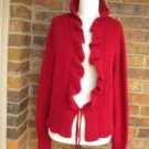 ELENA SOLANO Women Cascade Cardigan Sweater Size XL Red Angora Blend