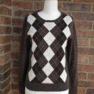 TWEEDS Women 100% Cashmere Sweater Size S M Brown Argyle V Neck Top