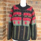 TALBOTS Women Cardigan Sweater Size S Wool Blend Holiday Red/Green/Black Top