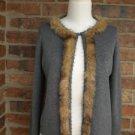 CHICO'S Women Gray Cardigan Sweater Size 1 M 8/10 Cotton Silk Blend Faux Fur Top